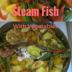 Steamed Fish With Vegetables And Fat Free Water Crackers