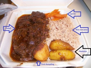 Oxtail with rice and peas