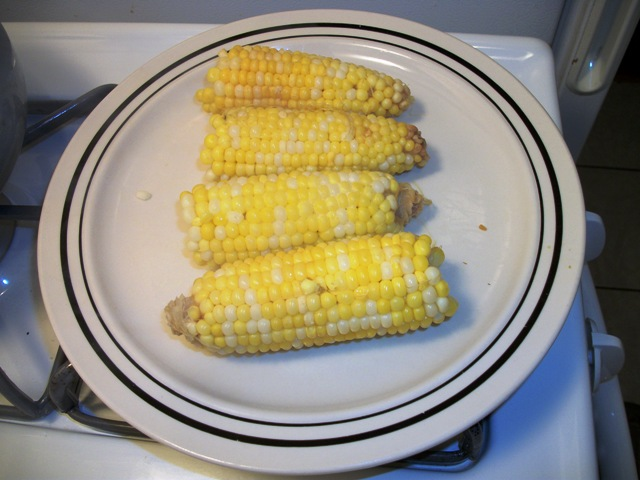 Corn on the cob cooked